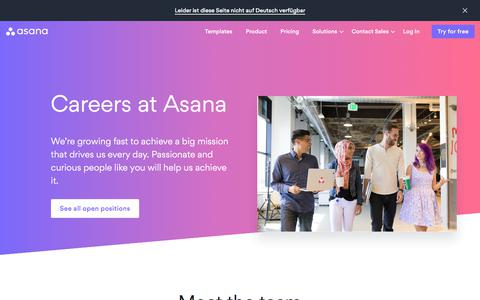 Screenshot of Jobs Page asana.com - Jobs and working at Asana · Asana - captured Oct. 6, 2019