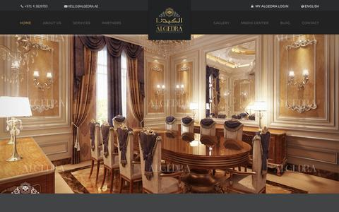 Screenshot of Home Page algedra.ae - Luxury Interior Design Dubai, Interior Design Company in UAE - captured Jan. 17, 2016