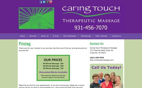 Screenshot of Pricing Page crossvillemassage.com - Pricing | Crossville Massage - captured Jan. 25, 2016