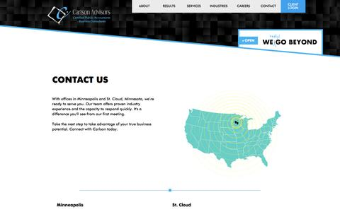Screenshot of Contact Page Locations Page carlson-advisors.com - Locations | Minneapolis, Seattle, Los Angeles & St. Cloud | Carlson Advisors - captured Jan. 25, 2016