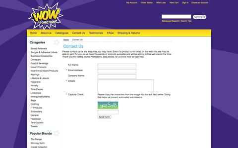 Screenshot of Contact Page wowpromotions.net.au - Contact Us - captured Oct. 9, 2014