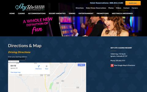 Screenshot of Maps & Directions Page skyutecasino.com - Directions & Map | Sky Ute Casino Resort - captured Nov. 7, 2018