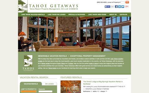 Screenshot of Home Page tahoegetaways.com - Tahoe Rentals | Rent a Vacation Home from Tahoe Getaways - captured Sept. 18, 2014