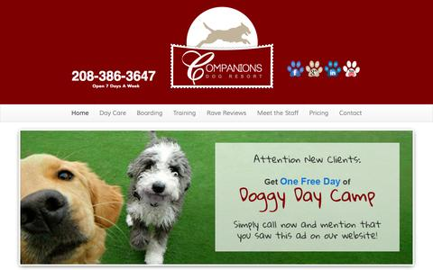 Screenshot of Home Page companionsdogresort.com - Companions Dog Resort - Boarding & Training - Boise IdahoCompanions Dog Resort | Dog Daycare, Boarding & Dog Training in Boise, Idaho - captured Sept. 30, 2014