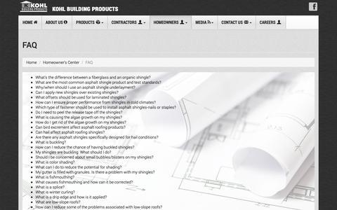Screenshot of FAQ Page kohlbp.com - Kohl Building Products - FAQ - captured Oct. 16, 2018