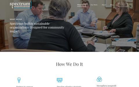Screenshot of Services Page spectrumnonprofit.com - What We Do – Spectrum Nonprofit Services - captured Oct. 18, 2018