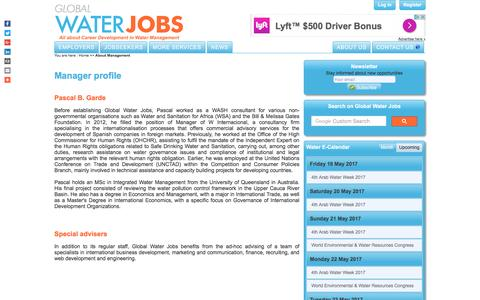 Screenshot of Team Page globalwaterjobs.com - About Management - Global Water Jobs - captured May 20, 2017