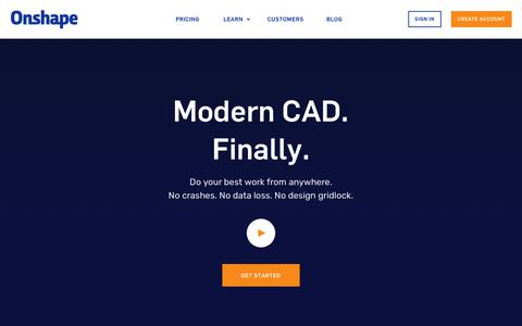 Screenshot of Home Page onshape.com - Onshape: Modern CAD. Finally. - captured March 22, 2018