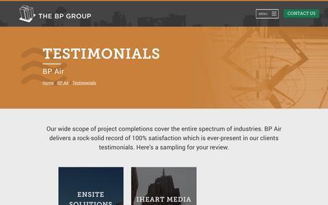 Screenshot of Testimonials Page bpgroup.com - BP Air Client Testimonials - captured Nov. 22, 2016