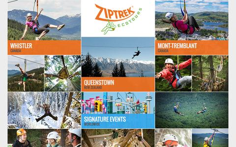 Screenshot of Home Page ziptrek.com - Ziptrek Ecotours - Whistler, Tremblant & Queenstown - captured Jan. 19, 2016