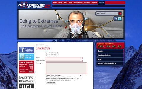 Screenshot of Contact Page xtreme-everest.co.uk - Contact Us :: Xtreme Everest 2 - captured Oct. 2, 2014