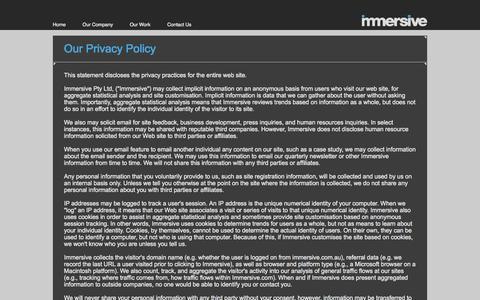 Screenshot of Privacy Page immersive.com.au - Immersive - captured Jan. 8, 2016