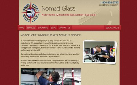 Screenshot of Services Page nomadglass.com - Motorhome/RV Windshield Replacement Services by Nomad Glass - Arizona, Idaho, nationwide - captured Sept. 28, 2018