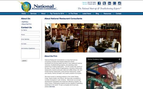 Screenshot of About Page restaurantconsulting.us - About National Restaurant Consultants | Consulting for Restaurants - captured Oct. 27, 2014