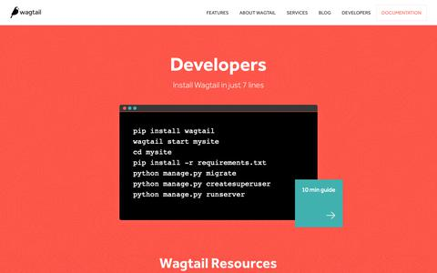 Screenshot of Developers Page wagtail.io - Developers | Wagtail CMS - captured Oct. 19, 2018