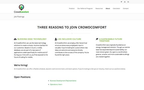 Screenshot of Jobs Page crowdcomfort.com - Job Postings - CrowdComfort - captured Feb. 21, 2016