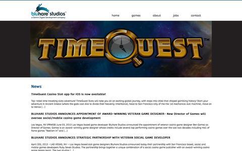 Screenshot of Home Page bluhare.com - Bluhare Studios - captured Oct. 1, 2014