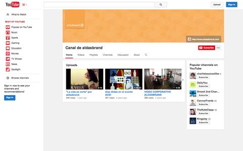 Screenshot of YouTube Page youtube.com - Canal de aldasbrand  - YouTube - captured Oct. 23, 2014