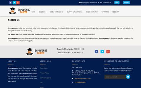 Screenshot of About Page ohcampus.com - OhCampus.com | Campus Media and Admission Portal - About Us - captured Feb. 19, 2018