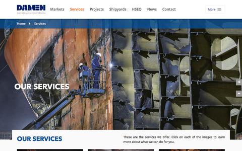 Screenshot of Services Page damenshiprepair.com - We offer ship owners a comprehensive range of services  - Damen Shiprepair & Conversion - captured Aug. 5, 2018