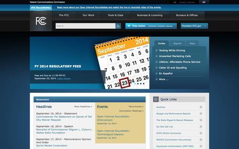 Screenshot of Home Page fcc.gov - Home | FCC.gov - captured Sept. 19, 2014