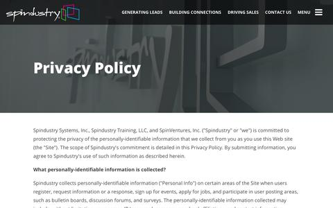 Screenshot of Privacy Page spindustry.com - Privacy Policy | Spindustry | A Modern Business Agency - captured Oct. 24, 2017