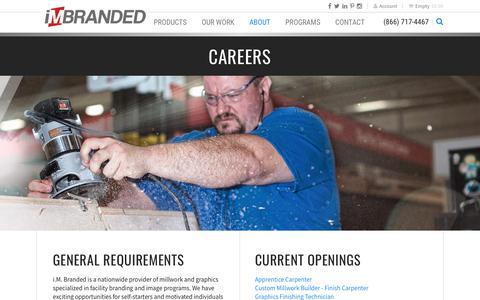 Screenshot of Jobs Page imbranded.com - Careers | i.M. Branded - captured Jan. 13, 2018