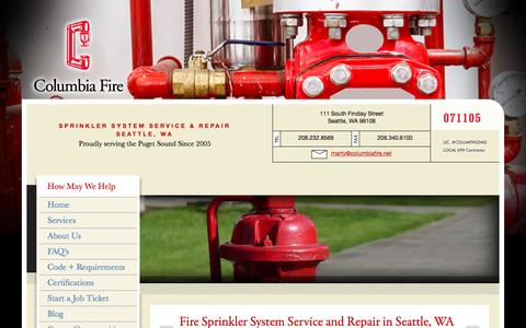 Screenshot of FAQ Page columbiafire.net - Fire Sprinkler System Service and Repair in Seattle, WA - captured Nov. 9, 2016