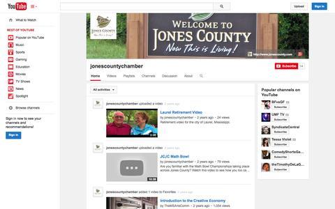 Screenshot of YouTube Page youtube.com - jonescountychamber  - YouTube - captured Oct. 22, 2014