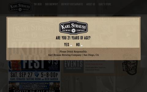 Screenshot of Home Page karlstrauss.com - Karl Strauss Brewing Company | San Diego Craft Beer Brewery, Brewpub & Tasting Room - captured Sept. 23, 2014