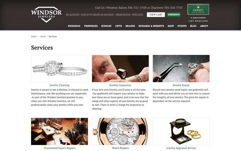 Screenshot of Services Page windsor-jewelers.com - Jewelry Repair, Cleaning & Inspection Winston & Charlotte | Windsor Jewelers - captured April 12, 2016