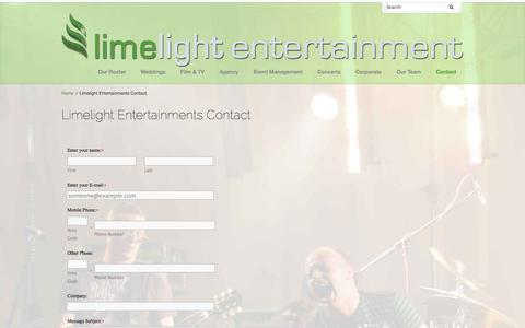 Screenshot of Contact Page limelightgroup.ie - Limelight Entertainments Contact - Limelight Group - captured Oct. 27, 2014