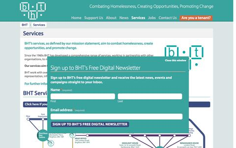 Screenshot of Services Page bht.org.uk - BHT | Services - captured Oct. 11, 2017