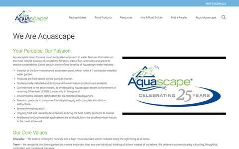 Screenshot of About Page aquascapeinc.com - About Aquascape - captured Sept. 19, 2017