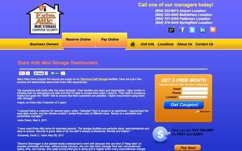 Screenshot of Testimonials Page extraattic.net - Testimonials for Richmond Self Storage   ExtraAttic.net - captured Oct. 1, 2014