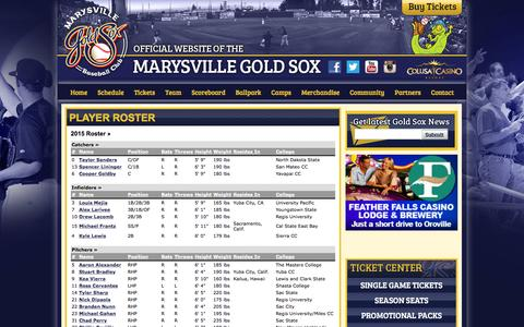 Screenshot of Team Page goldsox.com - Official Website of the Marysville Gold Sox: Player Roster - captured Feb. 12, 2016