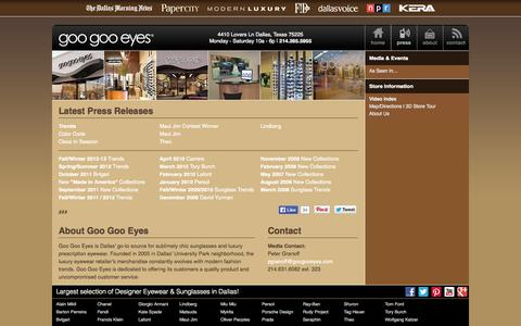 Screenshot of Press Page googooeyes.com - Press Info | Goo Goo Eyes - captured Sept. 30, 2014