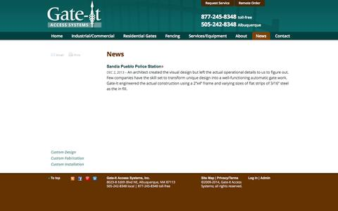 Screenshot of Press Page gate-it.com - News |  Gate-It Access Systems - captured Sept. 30, 2014