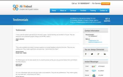Screenshot of Testimonials Page aliwebsol.com - Testimonials | Ali Websol - captured Feb. 5, 2016