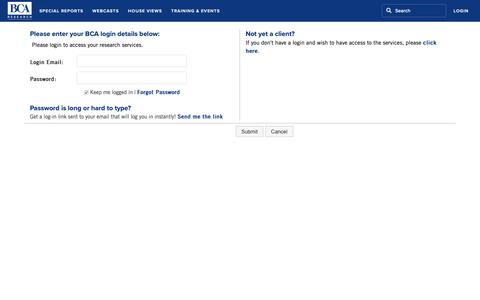 Screenshot of Login Page bcaresearch.com - BCA Research - Login - captured June 19, 2019