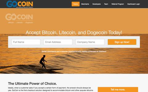 Screenshot of Home Page Developers Page gocoin.com - GoCoin - Payment Gateway for Bitcoin and Litecoin Merchant Accounts - captured Sept. 16, 2014