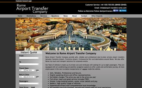 Screenshot of Home Page airport-transfers-rome.com - Rome Airport Transfer Company, Airport Transfers to Destinations in Rome from Ciampino Airport, Fiumicino Airport and Civitavecchia Port - captured March 14, 2016