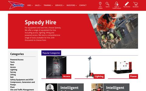 Screenshot of Products Page speedyservices.com - Tools and Equipment Hire | Speedy Services - captured March 8, 2019