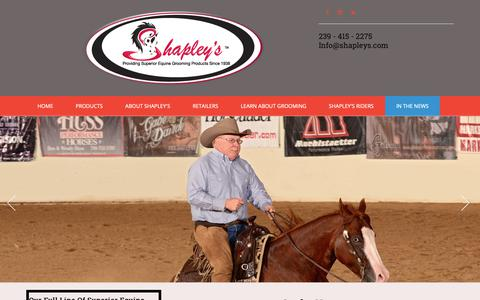 Screenshot of Press Page shapleys.com - Shapley's Superior Equine Grooming Products :: In the News - captured Oct. 20, 2018