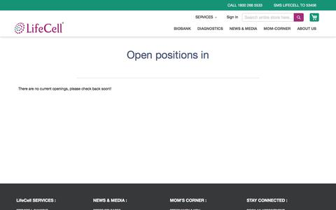 Screenshot of Jobs Page lifecell.in - Career - captured July 5, 2019