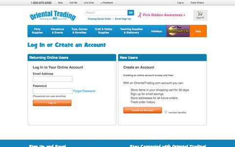 Screenshot of Login Page orientaltrading.com - Oriental Trading - Log In or Create an Account - captured Sept. 18, 2014