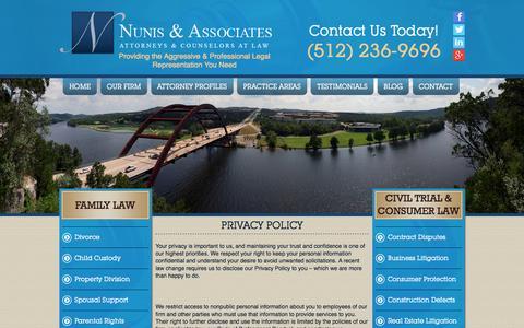 Screenshot of Privacy Page nunislaw.com - Privacy Policy - Nunis & Associates - captured Oct. 7, 2014
