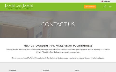 Screenshot of Contact Page ecommercefulfilment.com - Contact Us - James and James Fulfilment - captured March 13, 2018