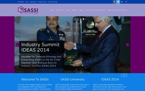 Screenshot of Home Page sassi.org - South Asian Strategic Stability Institute (SASSI) University - SASSI - captured Feb. 15, 2016