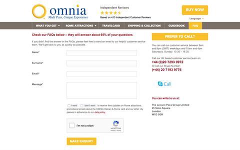 Screenshot of Contact Page FAQ Page romeandvaticanpass.com - Contact - OMNIA Vatican & Rome Card - captured Nov. 20, 2018